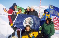 Earth Flag at Noth Pole